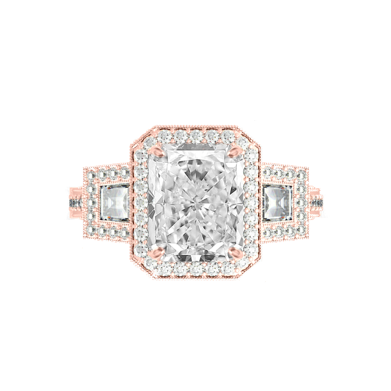 3.50 Carat Radiant Moissanite & Trapezoid Diamond Halo Vintage Ring