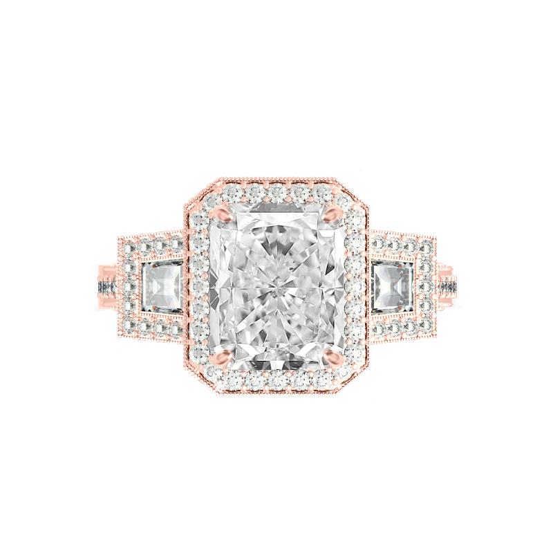 3.50 Carat Radiant Moissanite & Trapezoid Diamond Halo Vintage Ring