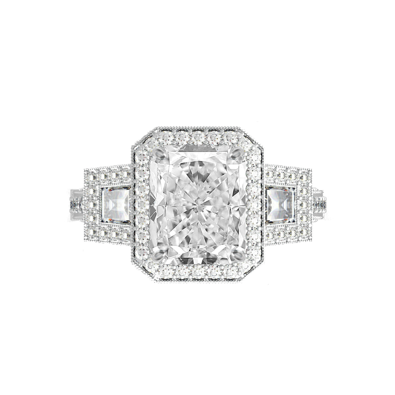 1.50 Carat Radiant Moissanite & Trapezoid Diamond Halo Vintage Ring