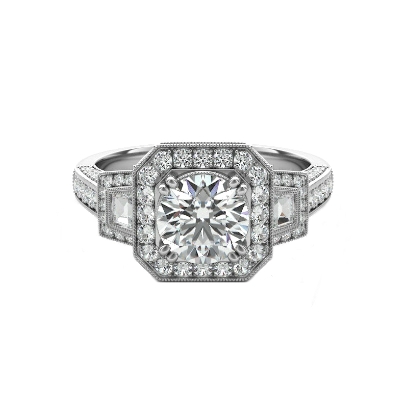 2 Carat Round Moissanite & Diamond Trapezoid Vintage Ring