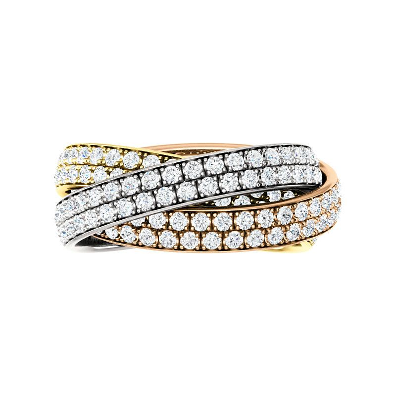 3 Carat Diamond Tri Color Rolling Ring