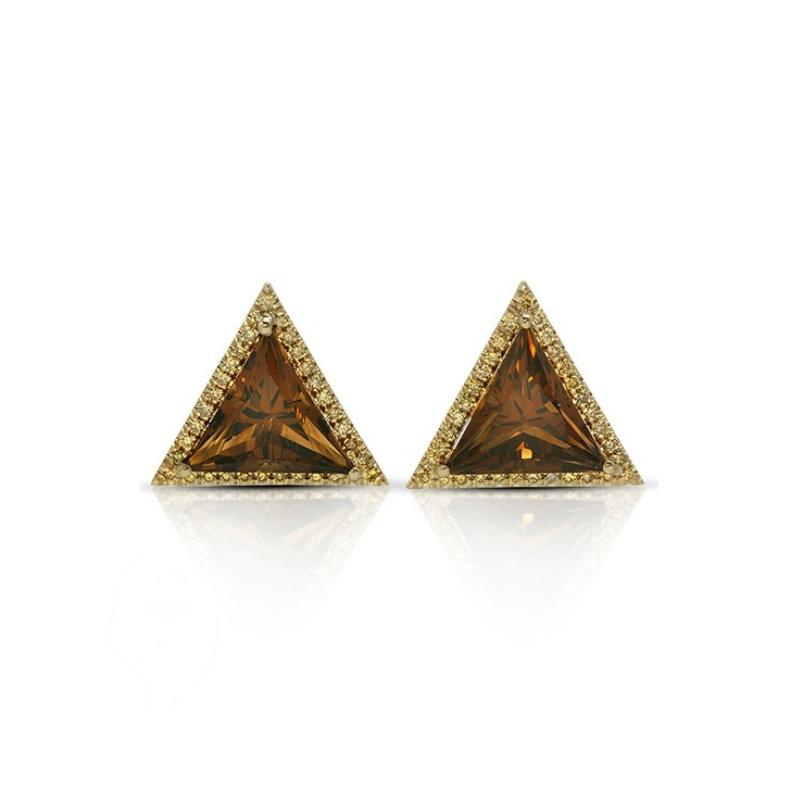 Trillion Smoky Quartz & Yellow Diamond Stud Earrings