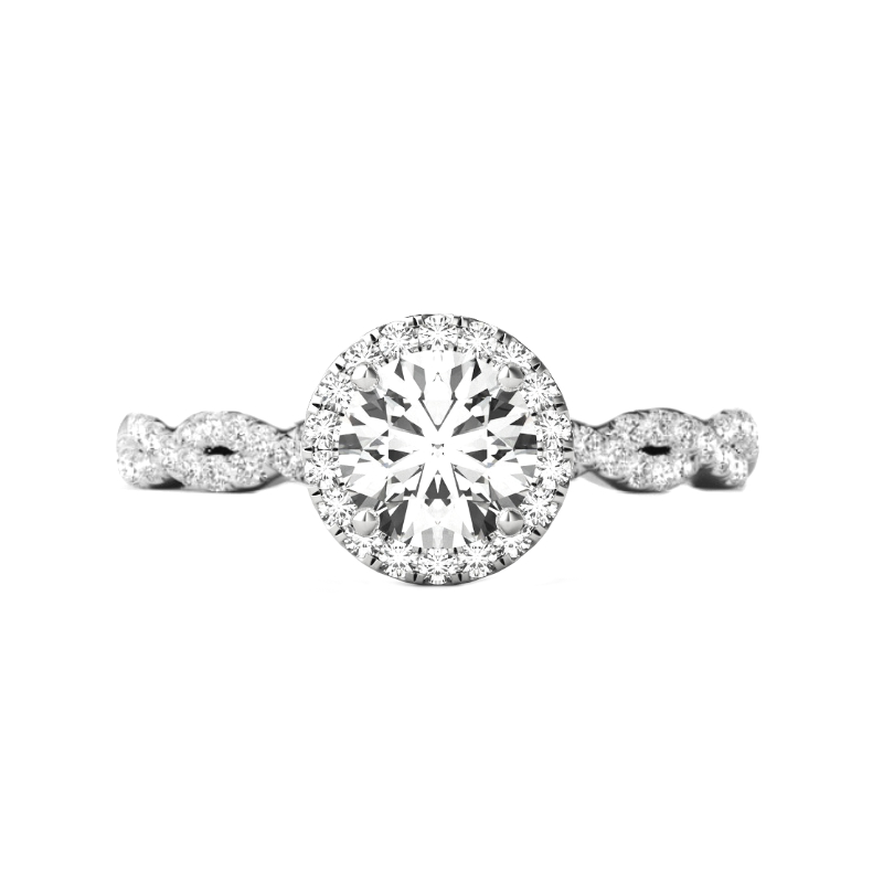 0.70 Carat Round Diamond & Halo Twisted Shank Ring