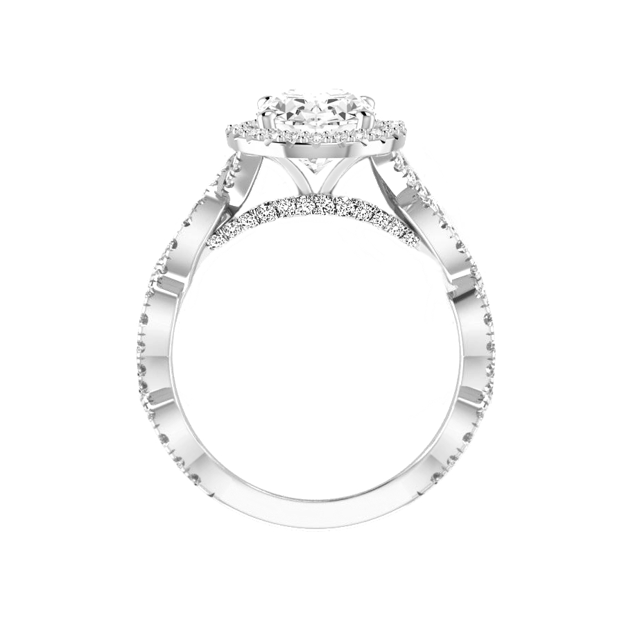 2.00 Carat Oval Diamond & Halo Twisted Shank Engagement Ring