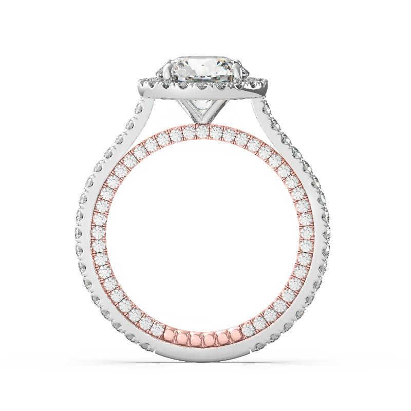 0.50 Carat Round Diamond & Halo Pave Profile Ring