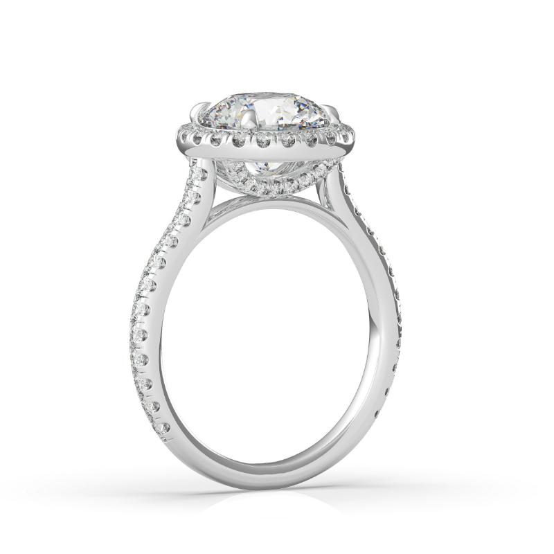 1.50 Carat Round Moissanite & Diamond Halo U Gallery Ring