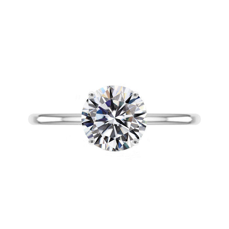3 Carat Round Forever One Moissanite White Gold Solitaire