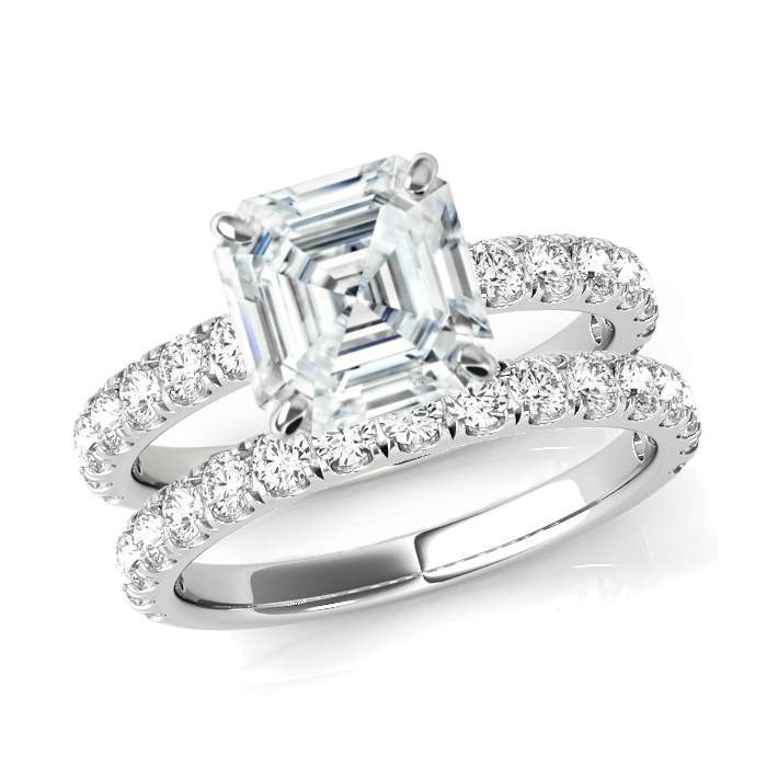 2.70 Carat Asscher Supernova Moissanite & 2.7mm Diamond Band Engagment Ring Wedding Set