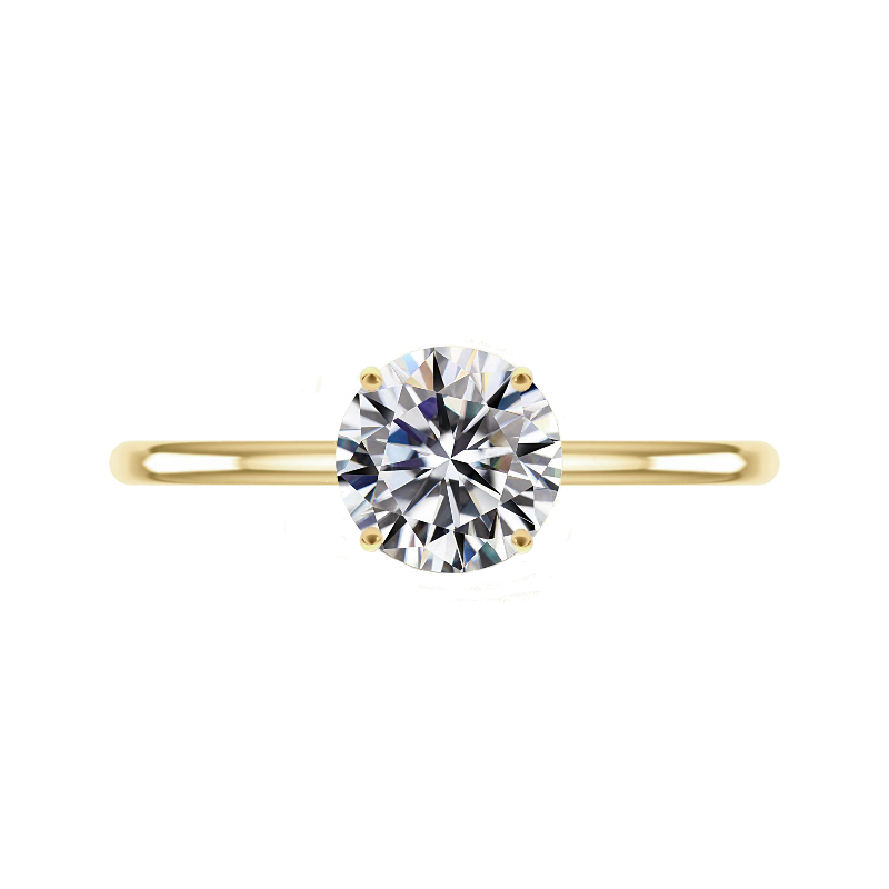 2 Carat Round Forever One Moissanite Yellow Gold Solitaire