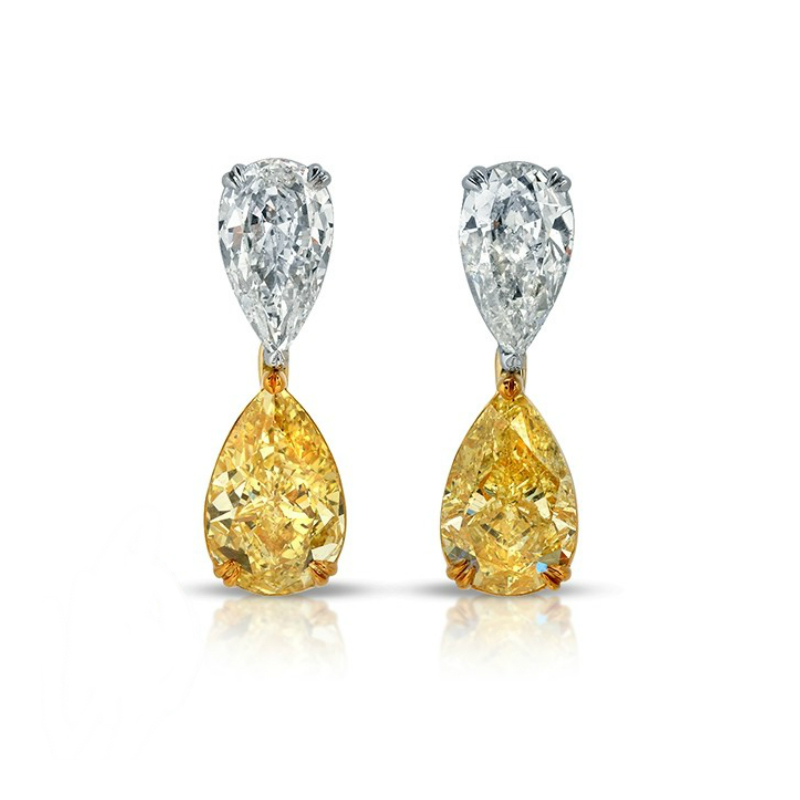 Fancy Intense Yellow Pear Diamond Earrings