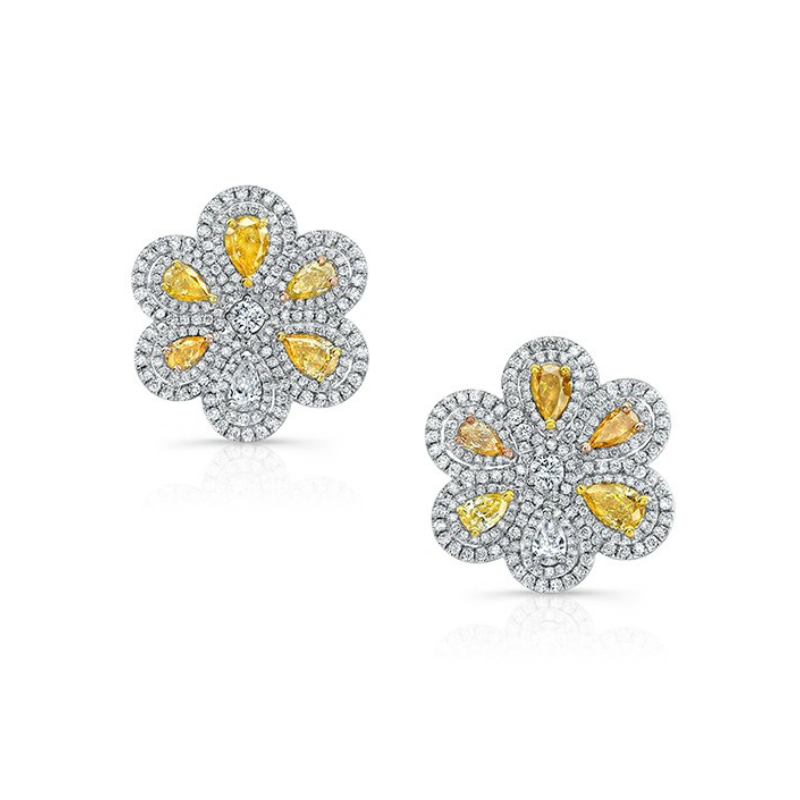 Yellow Pear Diamond & Halo Flower Earrings