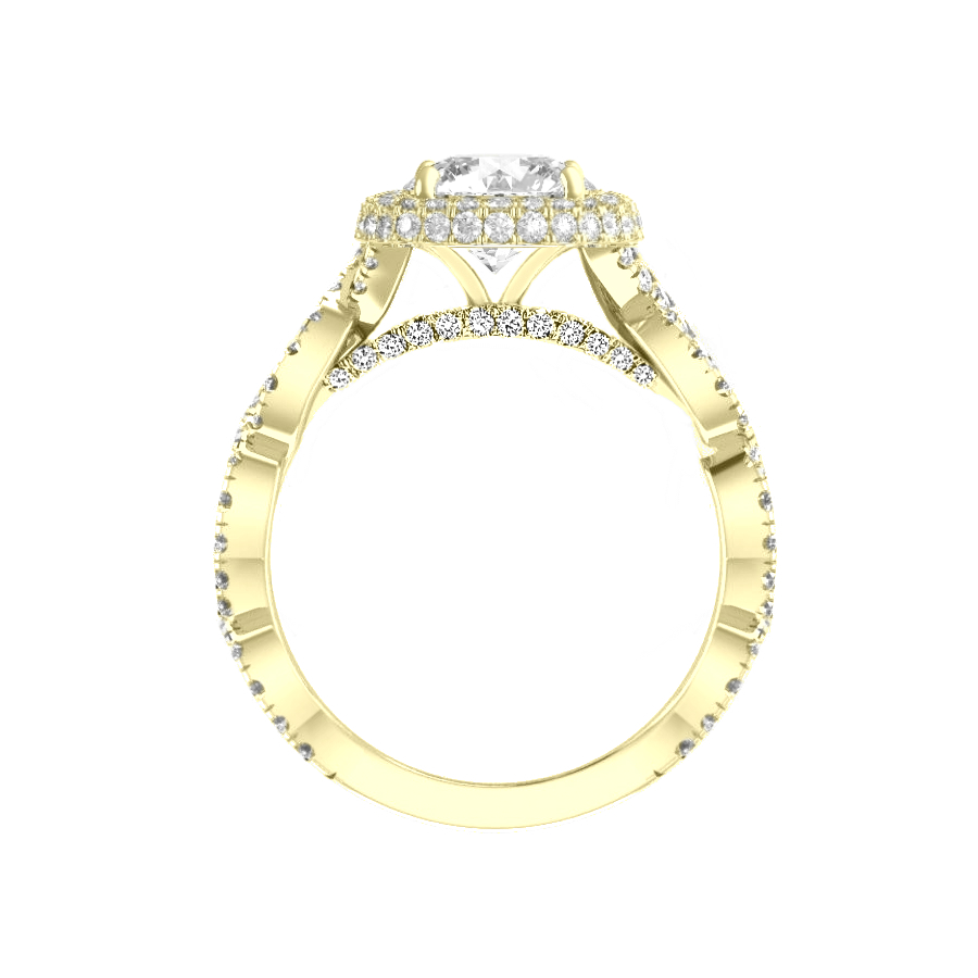 1.50 Carat Pear Moissanite & Double Edge Halo Twisted Pave Band Ring